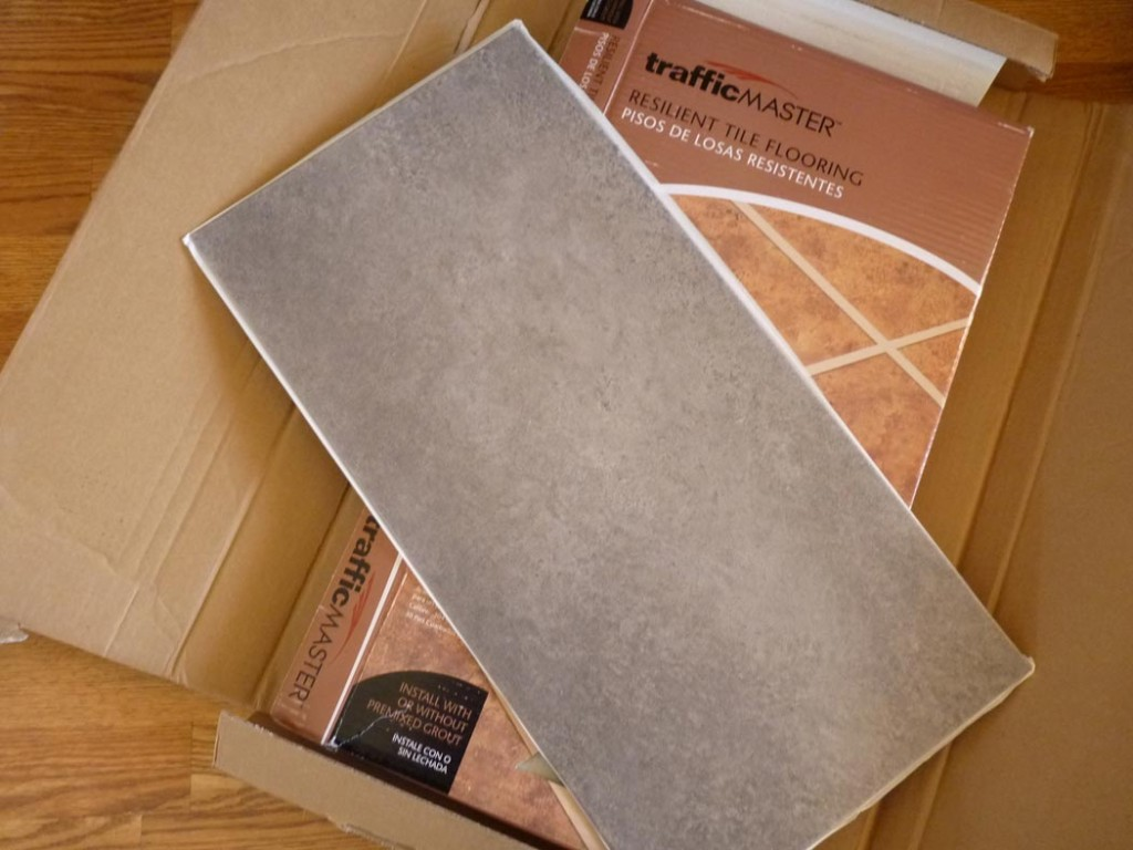 TrafficMaster Ceramica Groutable Vinyl Tile in Coastal Gray