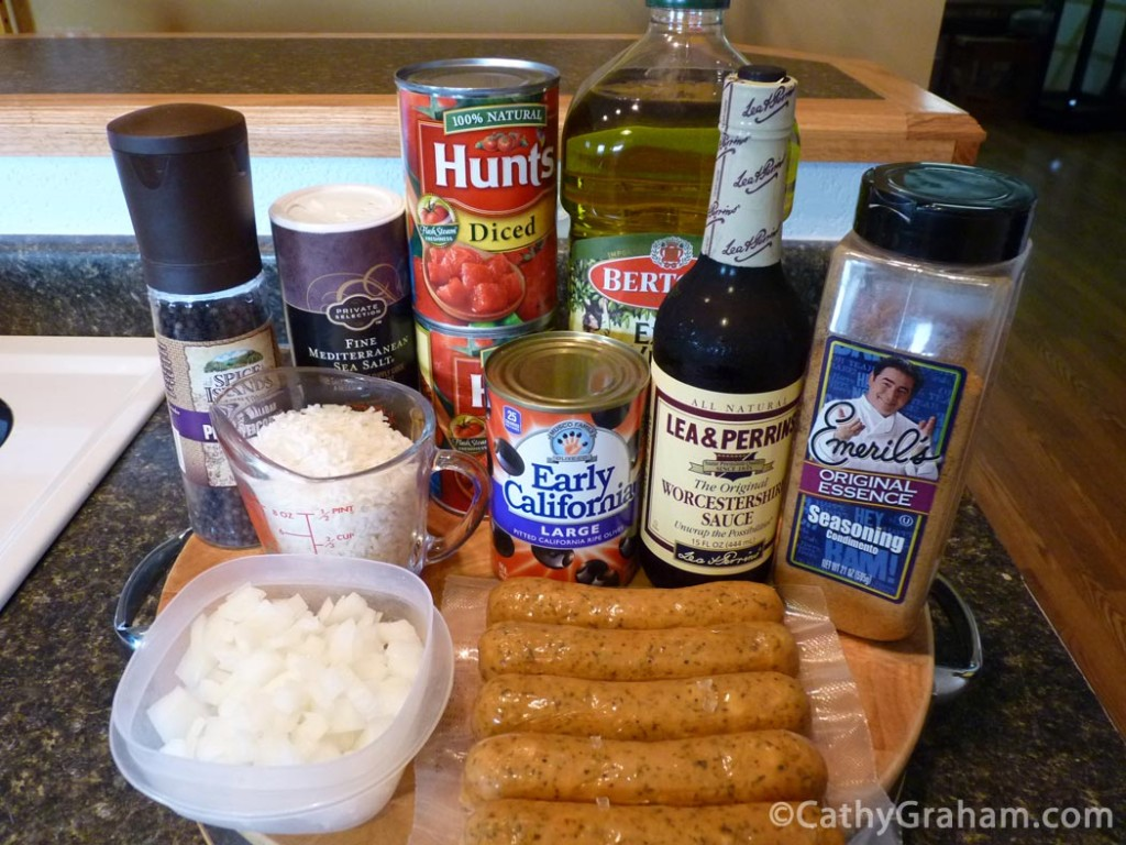 Sausage and Rice Ingredients